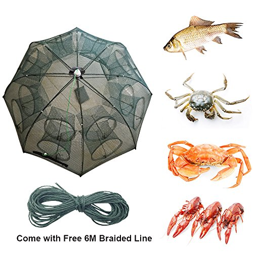 6/8/10/12/16 Holes Automatic Fishing Net Landing Net Trap Cast Dip Cage Fish Shrimp Trap Fish Net Minnow Crayfish Crab Baits Cast Mesh Trap (Automatic 8 Sides 16 Holes) ()
