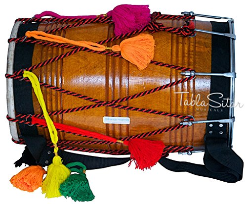 - Dhol Drum by Maharaja Musicals, Mango Wood, Natural, Barrel Shaped, Padded Bag, Beaters, Nylon Shoulder Strap, Punjabi Bhangra Dhol Musical Instrument (PDI-GE)