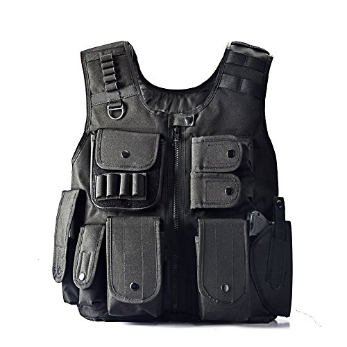 Swat Tactical Vest Costume (YAKEDA Law Enforcement Tactical SWAT Vest Army Fans Outdoor Vest Cs Game Vest,cs Field Vest Cosplay of Counter Strike Game-E88017)