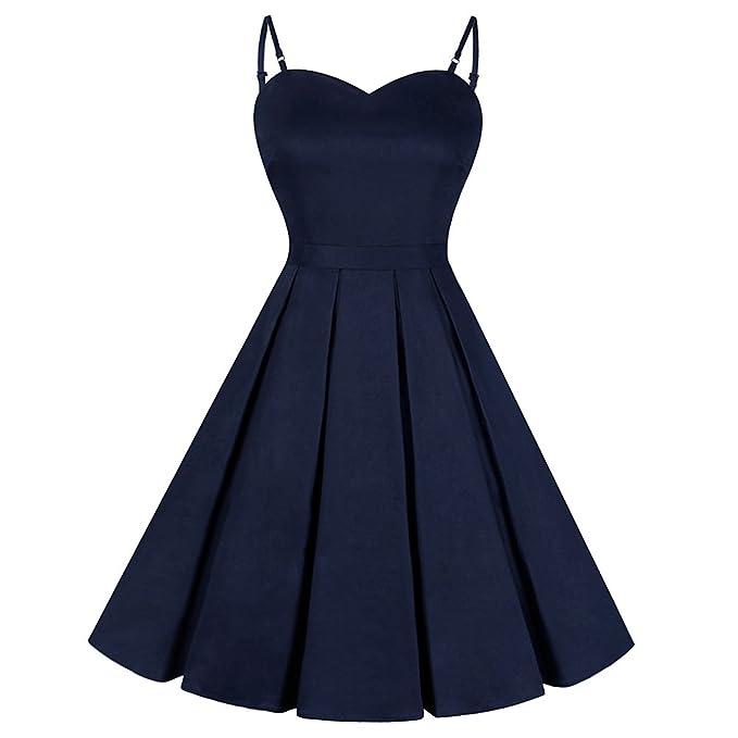 iBaste Vintage Negro Hepburn Vestido Sexy Mujer Bowknot Color sólido Vestidos Spaghetti Straps Cocktail Dress