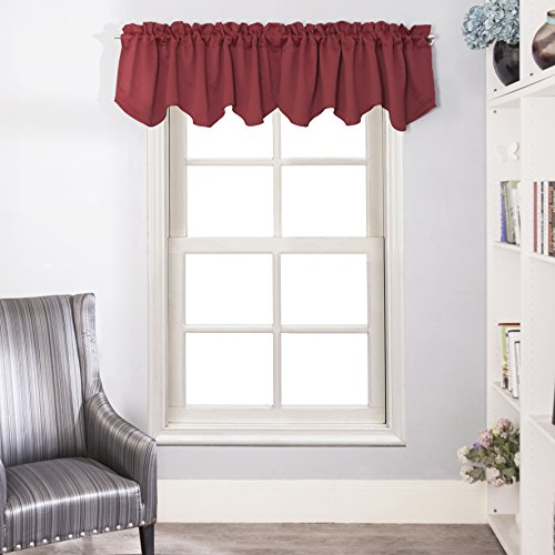 Aquazolax Scalloped Valances for Kitchen Decorative Blackout Curtain Valance Darpes for Bedroom, 52 x 18-inch, Burgundy Red, 4 Panels