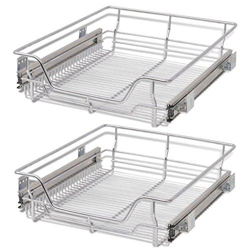 (Festnight Pack of 2 Pull-Out Wire Storage Baskets Rack Sliding Steel Cabinet Slides Under Shelves Sliding Organizer for Kitchen Pantry Bathroom Cupboard (19.7