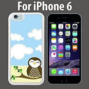 Cute Owl Custom Case/ Cover/Skin *NEW* Case for Apple iPhone 6 - White - Rubber Case (Ships from CA) Custom Protective Case , Design Case-ATT Verizon T-mobile Sprint ,Friendly Packaging - Slim Case
