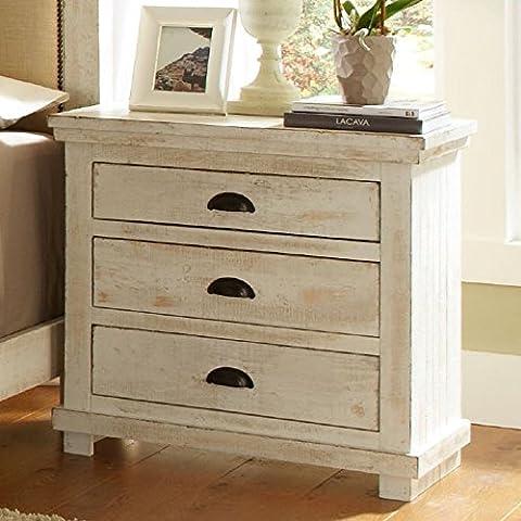 Progressive Furniture Willow Nightstand, Distressed White, 32