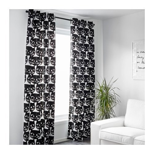 ikea pair of window curtains set of 2 black cats faces on white 57 inches by 98 inches mattram amazonca home kitchen - Cat Curtains