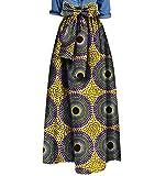 Vska Womens African Print Bowtie Waist Big Pendulum Stylish Long Skirt 12 2XL