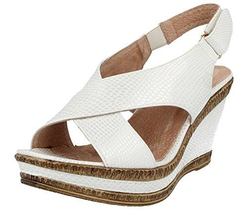 White lanières Pointure à Walk 35 Chaussures et Cushion semelles ouvertes doublure 5 compensées femme White 42 Sandales pour larges cuir d'été fnxFAq