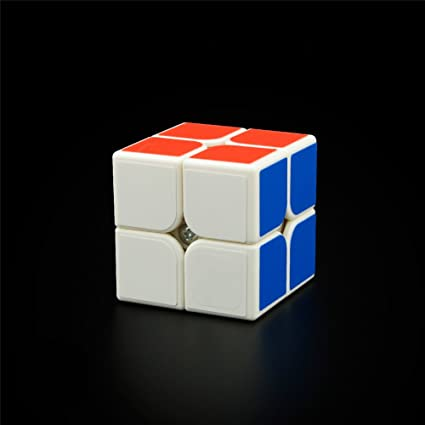 Emorefun Qin Simple Beginners Two-Layer Brain Teaser 2x2 Sticker Puzzle Magic Cube White