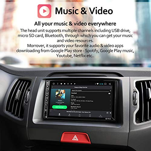 Double Din Android Car Stereo - Corehan 7 inch Touch Screen in Dash Car Radio Video Multimedia Player with Bluetooth WiFi GPS Navigation System (Android 10, 2GB Ram 16GB ROM)
