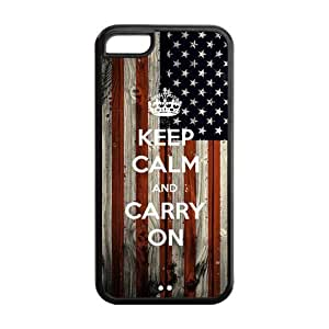5s Phone Cases, Keep Calm and Carry On Hard TPU Rubber Cover Case for iphone 5s