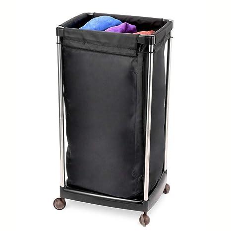 Amazon.com: Cesta para la colada de hotel, color negro, con ...