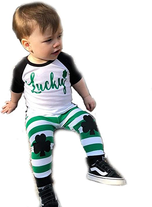 Toddler Kids Baby BOY Girls Long Sleeve Shirt Casual Bodysuit St Patricks Day Tops Clothes