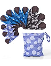 Teamoy 10pcs Cloth Panty Liners, Reusable Sanitary Pads with Wet Bag, Washable Cloth Menstrual Pads with Charcoal Absorbency Layers