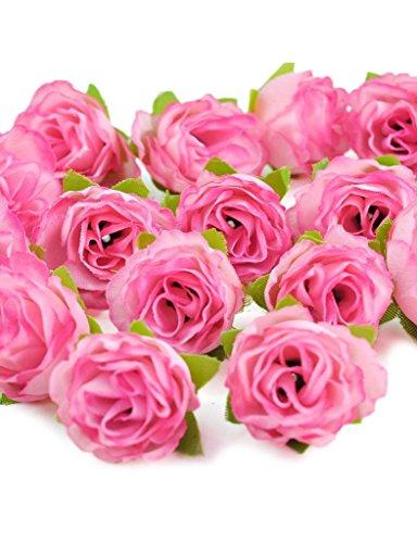 Zacoo Silk Small tea bud silk flower heads 50pcs. Silk Dark Pink 30mm