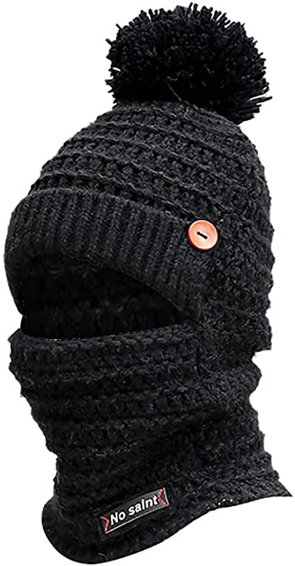 Solid Color Baseball Cap Fabal Women Men Winter Earmuffs Knit Hat Scarf Hairball Warm Cap