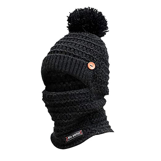 Women s Cute Winter Neck Warmer Knit Beanie Hat with Windproof Face Mask  Brim Pom Pom ( fc495c066