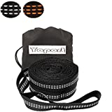 XL Hammock Straps - Adjustable 20 Loops Each , Non-Stretch, Easy Setup, Heavy Duty, Tree Friendly - 100% No Stretch Suspension System Kit- Extra 2 Carabiner Kit for Your Choice (black)