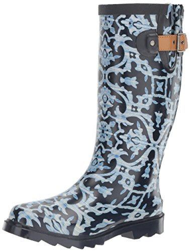 Chooka Women's Waterproof Printed Tall Rain Boot, Blue, 8 M US