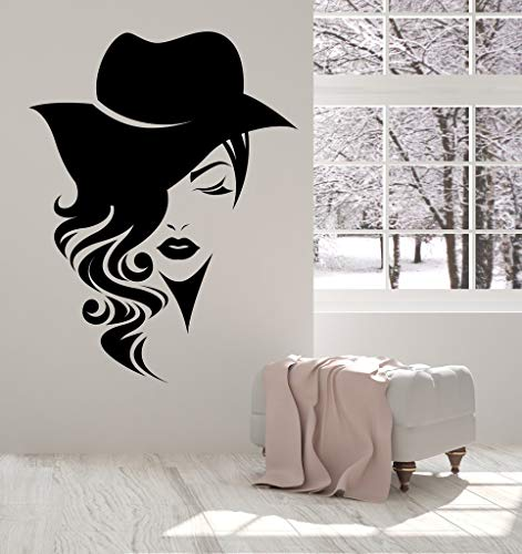 covolca Quotes Vinyl Wall Art Decals Saying Words Removable Lettering Logotype Women Face Long Hair with Hat for Fashion Store or Beauty Salon