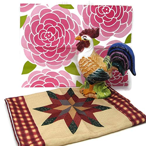 (One County Patchwork Printed Table Runner, l Rooster and Gift Bag (3 Items Bundle) )
