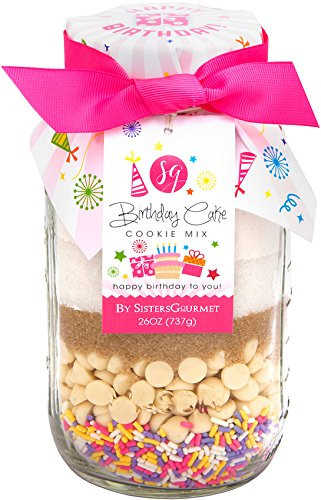 Sisters' Gourmet Happy Birthday Cake Cookie Mix with Pink Ribbon, 26 Ounce