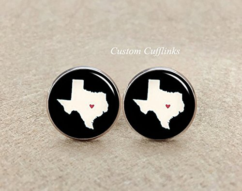 Texas cufflinks, American cufflinks, Love cufflinks, map cufflinks, wedding cuff links, unique cufflinks,silver plated cufflinks,men's gift