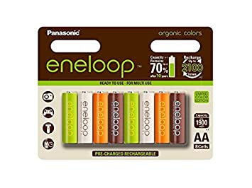 Panasonic eneloop Limitierte Organic Edition: Ready to Use AA Mignon Ni-Mh batería 3 mcce/8BE de Organic (1900 mAh, 8 Unidades, hasta 2100 Veces ...
