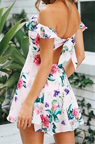 Mini Floral Back Shoulder Print Dress Pink The Womens Classic Domple Off Open Summer wgnAxXqv
