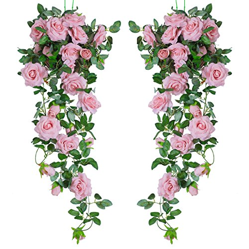 PARTY JOY 6.5Ft Artificial Rose Vine Silk Flower Garland Hanging Baskets Plants Home Outdoor Wedding Arch Garden Wall Decor,Pack of 2 (Dark Pink)