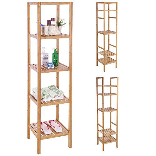 BEWISHOME Bamboo Bathroom Shelf 5 Tier DIY Adjustable Multifunctional Utility Storage Rack Plant Flower Free Standing Rack Shelving Unit 13