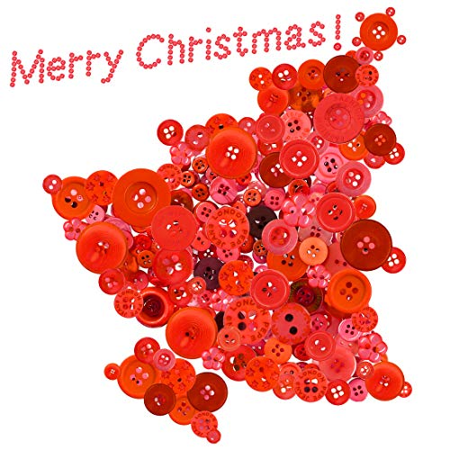 Swpeet 1000Pcs Christmas Craft Buttons, 2 and 4 Holes Red Round Craft Resin Sewing Buttons Suitable for Christmas Sewing Decorations, Art & Crafts Projects DIY Decoration - Red