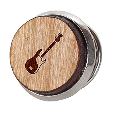 Bass Guitar Stylish Cherry Wood Tie Tack- 12Mm Simple Tie Clip with Laser Engraved Design - Engraved Tie Tack Gift