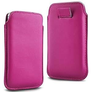 Direct-2-Your-Door - Samsung Galaxy Alfa Prima Soft PU Caso ficha de extracción Caso del tirón del cuero - Rosa