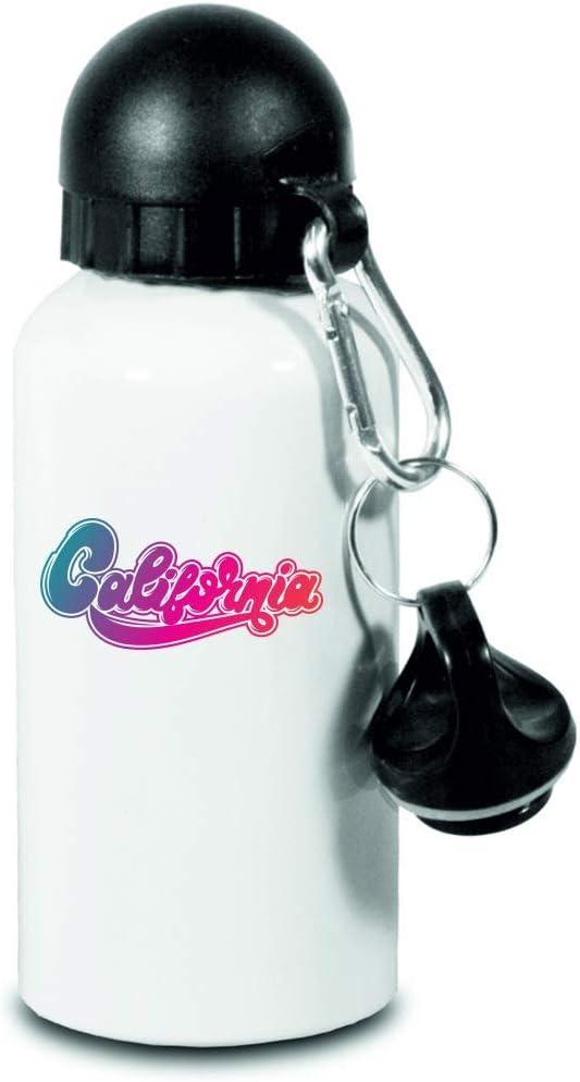 Drucklebnis24 Botella – California Jahrgang Camping Texto – para niños, escuela, deporte, fitness – Botella de agua fina de aluminio