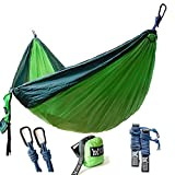 "Winner Outfitters Double Camping Hammock - Lightweight Nylon Portable Hammock, Best Parachute Double Hammock For Backpacking, Camping, Travel, Beach, Yard. 118""(L) x 78""(W), Dark Green/Green Color"