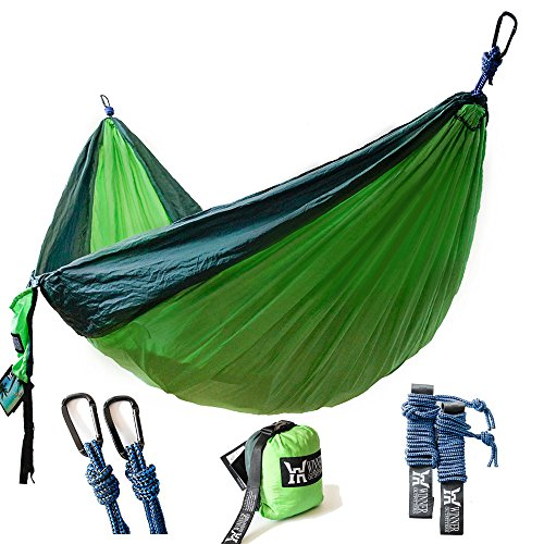 - Winner Outfitters Double Camping Hammock - Lightweight Nylon Portable Hammock, Best Parachute Double Hammock For Backpacking, Camping, Travel, Beach, Yard. 118