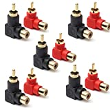 jack adapter right angle - RCA Male to RCA Female Connectors Right Angle Plug Adapters M/F 90 Degree Elbow Gold-Plated (5 Black + 5 Red) (10-Pack)