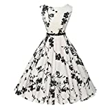 SanCanSn Vintage Floral Bodycon for Women Sleeveless Casual Evening Party Prom Swing Dress (2XL, White)