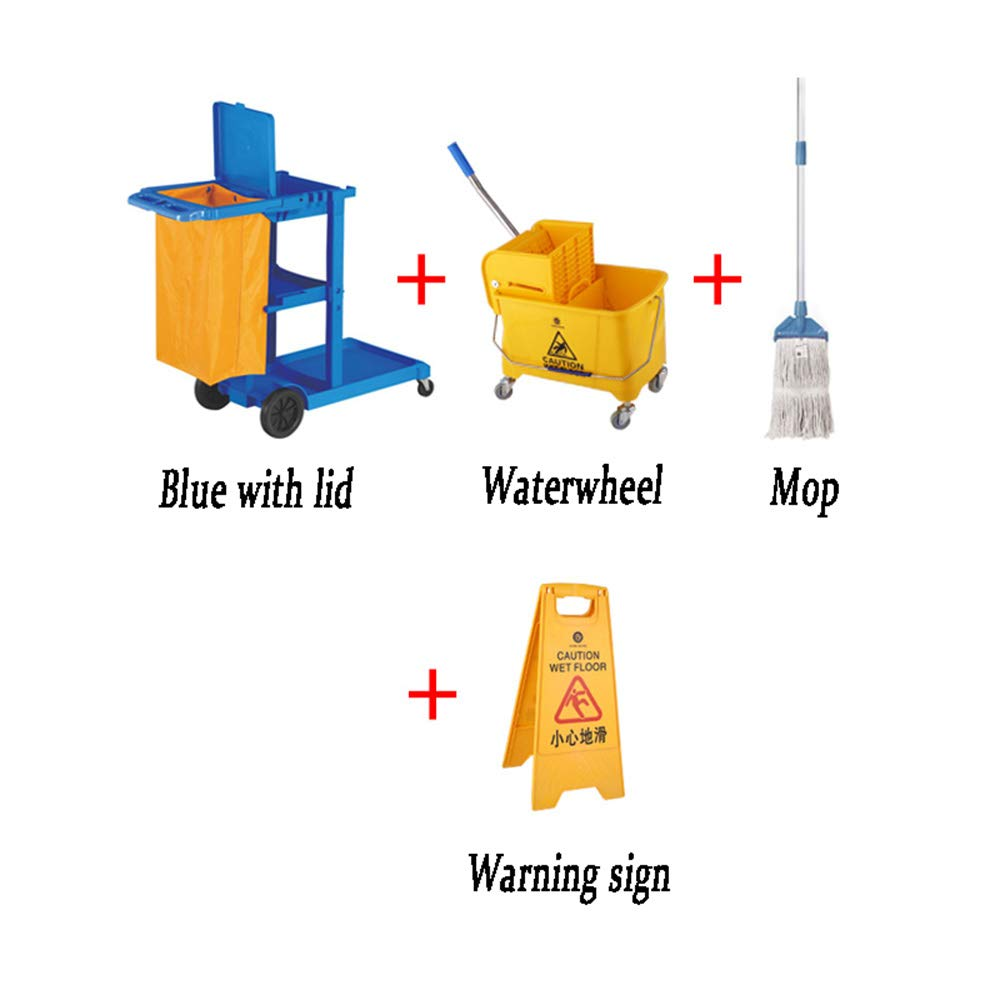 GXH- Multi-Function Hotel Cleaning Service car, Family Garden Multi-Vehicle Tool cart, Mobile Trash can, PP Plastic + Oxford Cloth