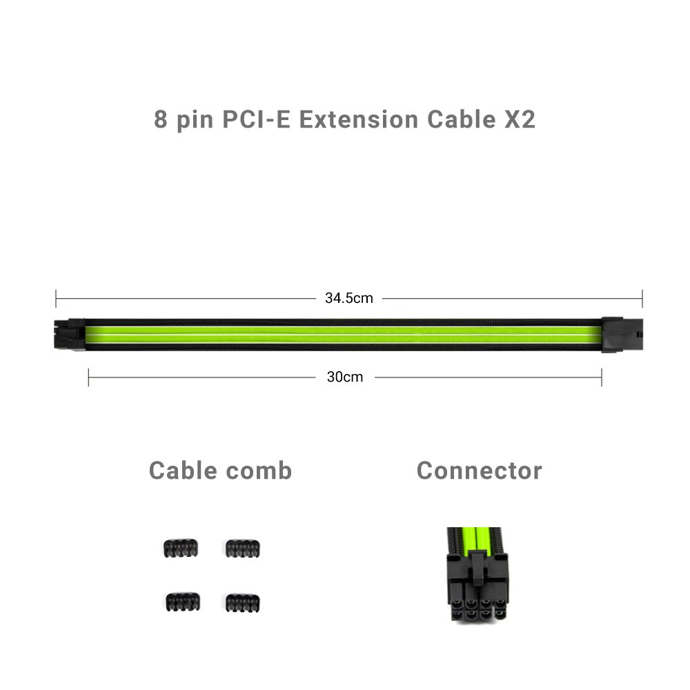 Amazon.com: Antec Power Supply Sleeved Cable 24Pin/ 8pin (4+4) M/B, 8pin  6pin PCI-E Extension Cable Kit 300mm Length, Green: Computers & Accessories