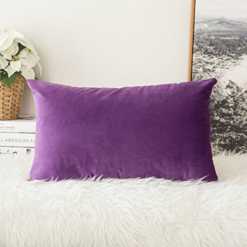 MIULEE Velvet Soft Soild Decorative Square Throw Pillow Covers Cushion Case for Sofa Bedroom Car 12 x 20 Inch 30 x 50 cm (Pillow 16x20 Cover)