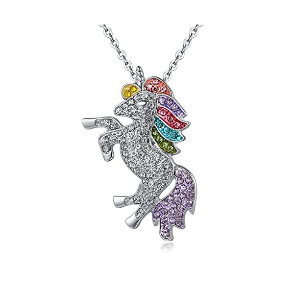 Mcgreen Crystal Unicorn Pendant Necklace Little Princess Rainbow Animal Necklace Gift for Girl Ladies 3