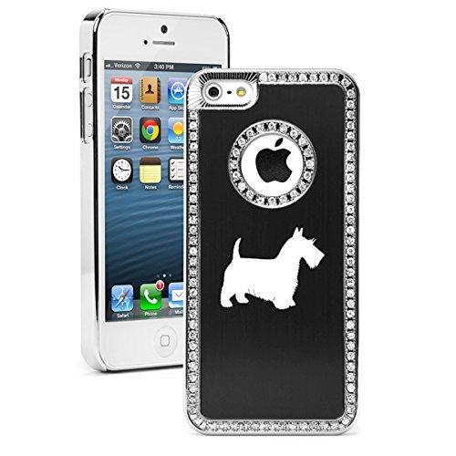 Apple iPhone 6 Plus / 6s Plus Rhinestone Crystal Bling Hard Case Cover Scottie Scottish Terrier (Black)