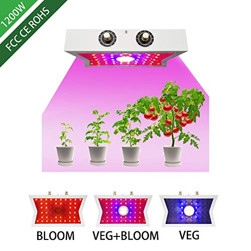 1200W LED Grow Light COB Full Spectrum Growing Lamps Adjustable 4 Brightness,Indoor Grow Lights for Greenhouse Basement Planting Veg & Flower Plants (1200W)