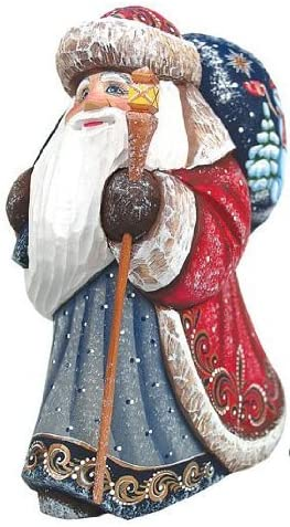G. Debrekht Snow Day Yuletide Santa Hand-Painted Wood Carving