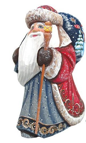 G. Debrekht Snow Day Yuletide Santa Hand-Painted Wood Carving
