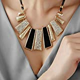 SysPod(TM) women girl Fashion Design Beads Enamel Bib Leather Braided Rope Chain statement necklace