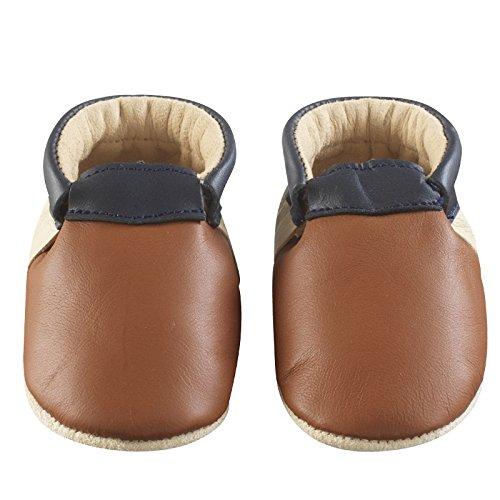 Tichoups chaussons bébé cuir souple ticolo camel - beige - marine