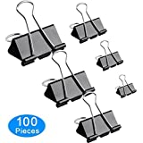 Amnadof Binder Clips 100 Pcs Paper Clamp Clips Assorted 6 Sizes (Black)