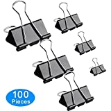 #8: Amnadof Binder Clips 100 Pcs Paper Clamp Clips Assorted 6 Sizes (Black)